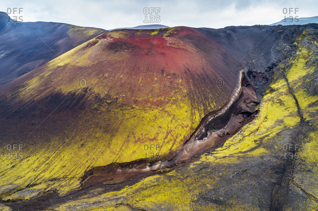 Aerial view of the colorful mountain Raudaskal near the volcano Hekla in the highlands of Iceland