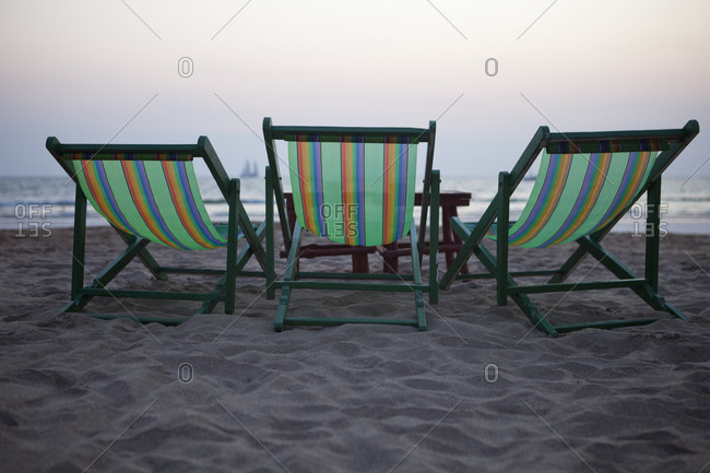 Beach chairs on holiday resort in Thailand