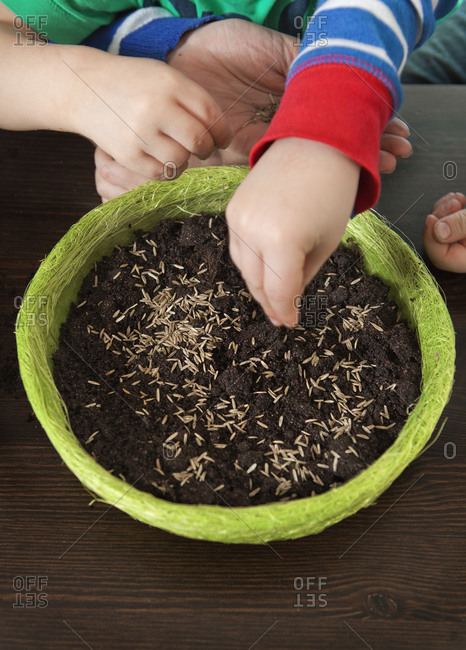 Mother and two sons planting seeds in a green planter
