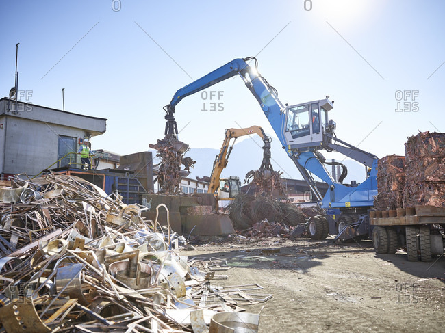 Austria- Tyrol- Brixlegg- Scrap metal being recycled in junkyard