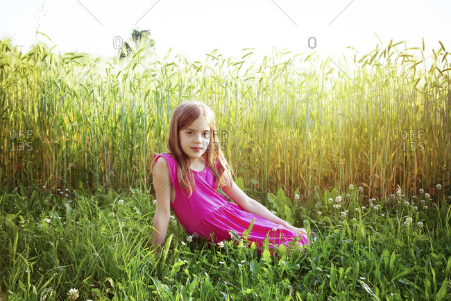 Portrait of young girl wearing vibrant pink dress sitting in front of rye field in summer