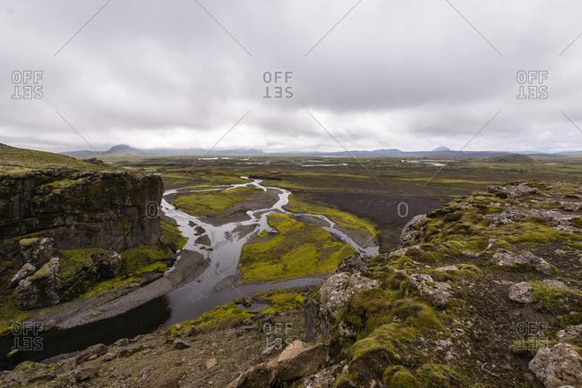 Rivers and springs through rugged landscape, Landmannalaugar, Iceland