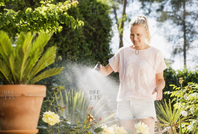 Woman watering plants with water hose in garden