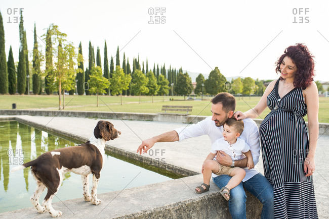 Parents with son playing with dog in park
