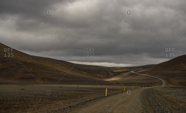 Empty gravel road in highlands, Nor,  Iceland