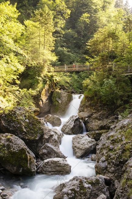 Scenic view of waterfall, Buerser Schlucht, Vorarlberg, Austria