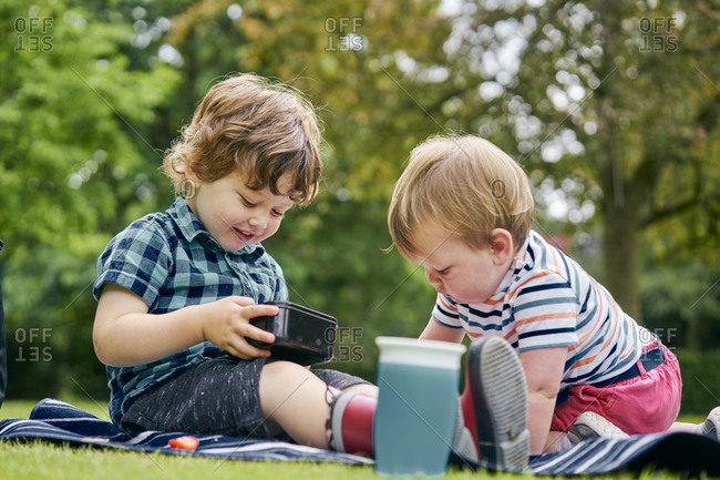 Brothers sharing food in park