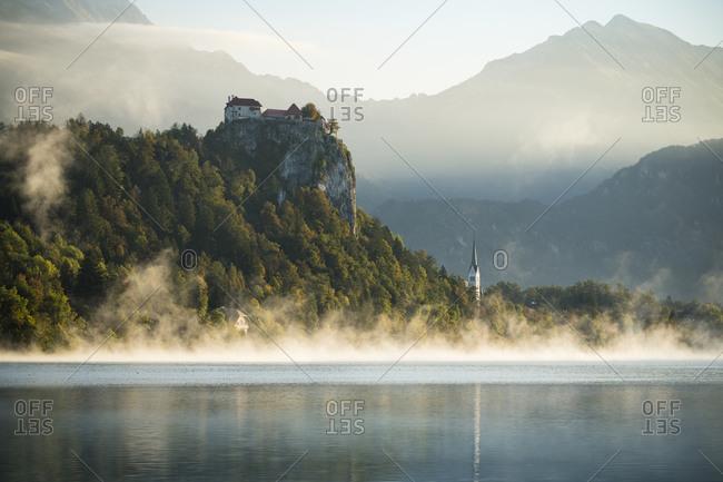 Bled Castle at dawn, Lake Bled, Upper Carniola, Slovenia