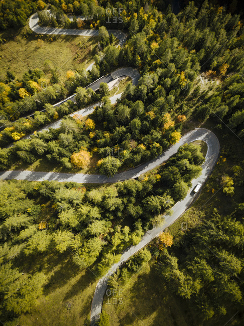 Aerial view of Vrsic Pass, Julian Alps, Triglav National Park, Upper Carniola, Slovenia