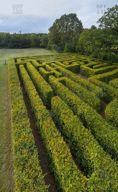Klein-Zundert, Noord-Brabant, the Netherlands - September 16, 2019: Old labyrinth at dawn, Klein-Zundert, Noord-Brabant, Netherlands