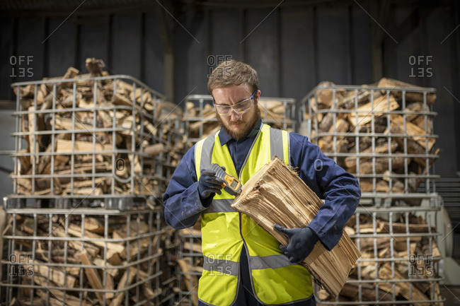 Engineer inspecting wood water content in wood recycling plant.