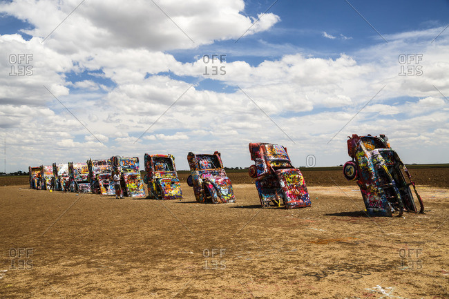 January 1, 1970: Cadillac Ranch, Historic Route 66, Texas, USA