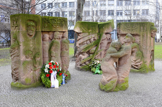 January 1, 1970: Sculpture by Ingeborg Hunzinger on the Rosenstrasse protest, Rosenstrasse, Mitte, Berlin