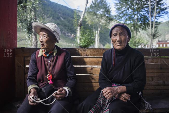 January 1, 1970: Old Tibetan women praying, Tibetan plateau