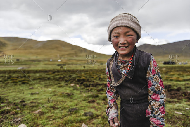 Early traces of rough skin on the face of a nomadic Tibetan child, Kham Province, Tibetan Plateau