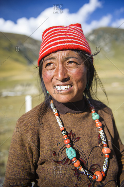 A traditional Tibetan nomad woman, Tibetan plateau