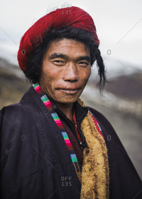 January 1, 1970: Portrait of a Tibetan man, Tibetan plateau, Kham and Amdo