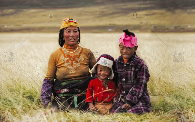 January 1, 1970: A Tibetan nomad family on the meadows of the Tibetan plateau