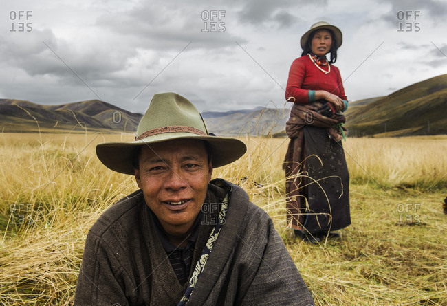 Tibetan nomads in the meadows of the Tibetan plateau