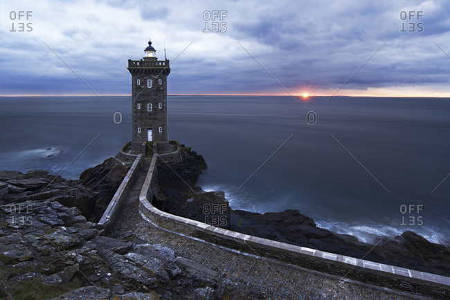 Phare de Kermorvan at sunset, Pointe de Kermorvan, Le Conquet, Brittany, France