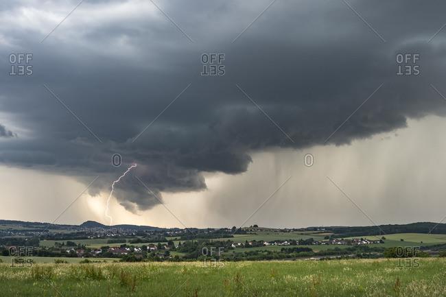 Earth Blitz at Wallcloud of Vigorous Supercell near Saarlouis, Saarland, Germany
