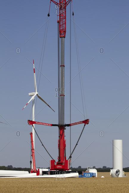 January 1, 1970: Sarow wind farm, construction site, Mecklenburg Lake District, Germany