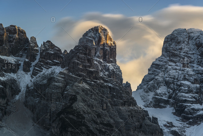 View from the Durrensee to Monte Cristallo at sunset, Cristallogroup, Dolomites, South Tyrol, Italy