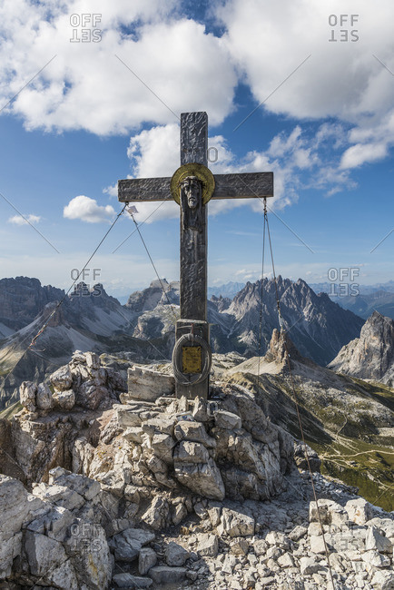 January 1, 1970: Summit cross on the summit of Paternkofel, Drei Zinnen, Drei Zinnen National Park, Dolomites, South Tyrol, Italy