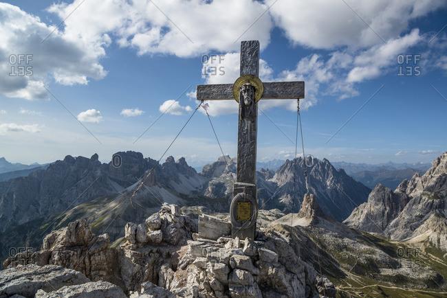 January 1, 1970: Summit cross on the summit of Paternkofel, Drei Zinnen, Drei Zinnen National Park, Dolomites, South Tyrol, Italy