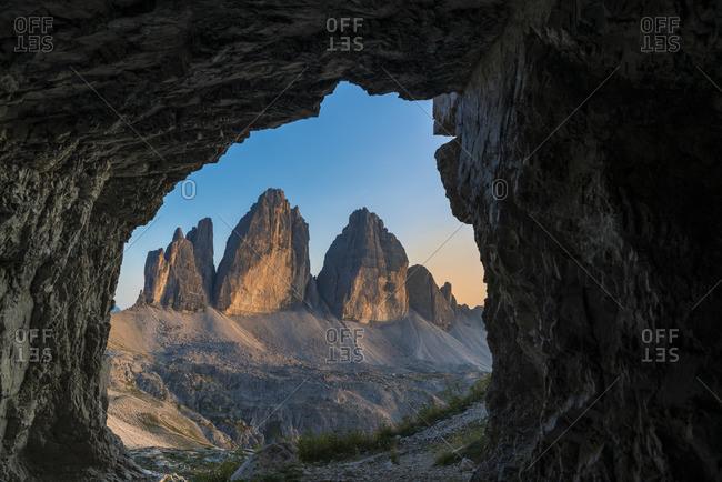 Three pinnacles at sunset, Three Peaks Nature Park, Dolomites, South Tyrol, Italy