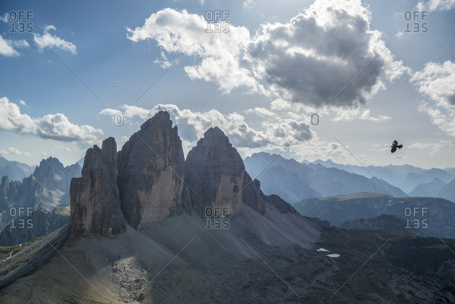 View from the summit of the Paternkofel to the Three Peaks, Nature Park Three Peaks, Dolomites, South Tyrol, Italy