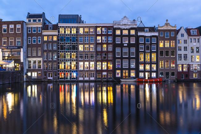 January 1, 1970: Damrak at night, Amsterdam, Holland, Netherlands