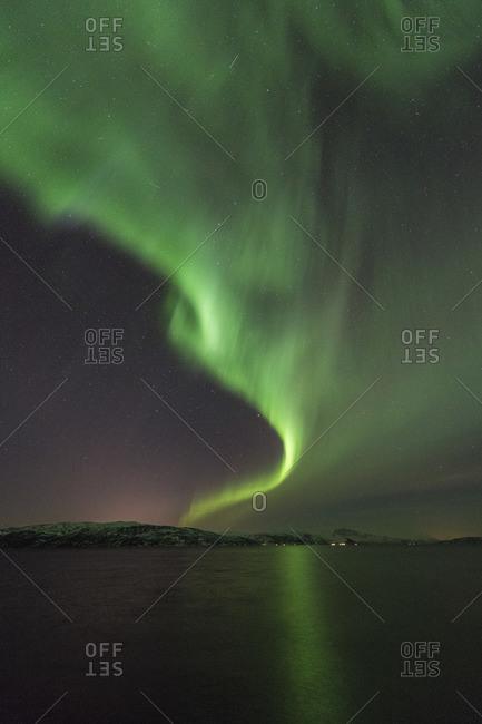 Northern lights over Stonesbotn at night, Senja, Norway