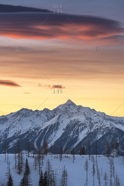 Sunrise at the foot of the Dachstein massif, view of the Schladminger Tauern, Dachstein, Austria