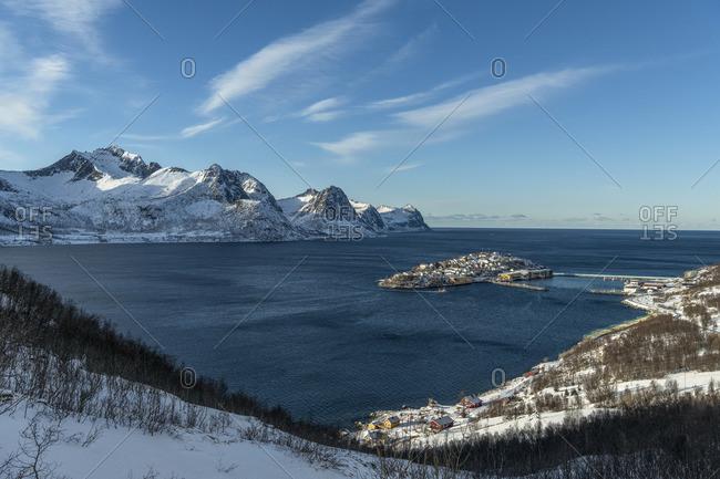 Oyfjord with fishing village Husoy, Senja, Norway