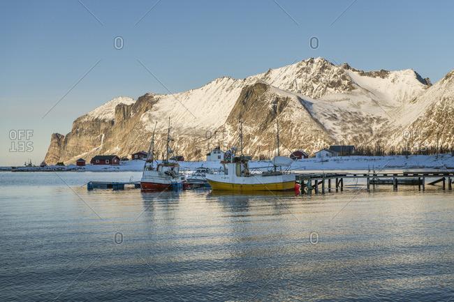 January 1, 1970: Mefjord, Senjahopen, fishing boats, Senja, Norway