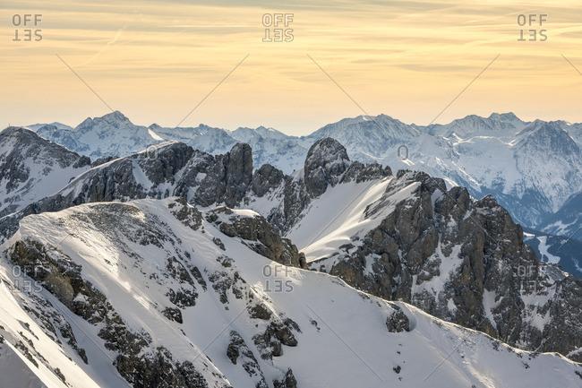Dachstein glacier, Dachstein massif, view of the Schladminger Tauern, in the morning, Austria