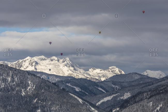 January 1, 1970: View from Rohrmoos, hot air balloons, Austria