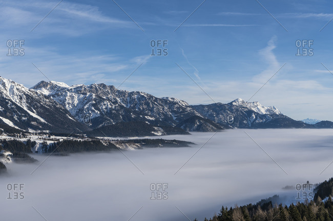 View from Rohrmoos to the Dachstein massif, morning fog, sunrise, Austria