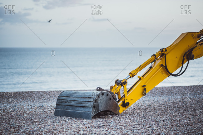 Dredger on a pebble beach, Brighton, England