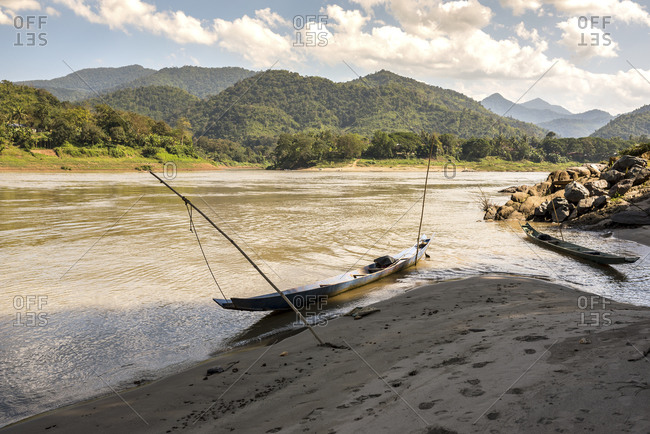 Small boat on the banks of the Mekong, Laos