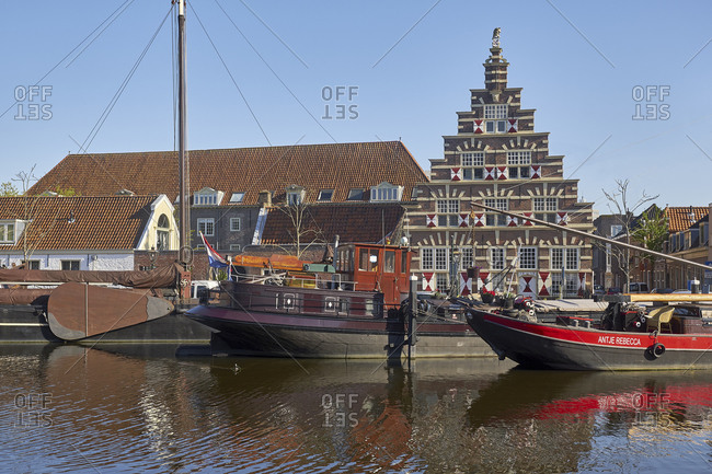 May 2, 2018: Museum harbor at Kort Galgewater in Leiden, South Holland, Netherlands