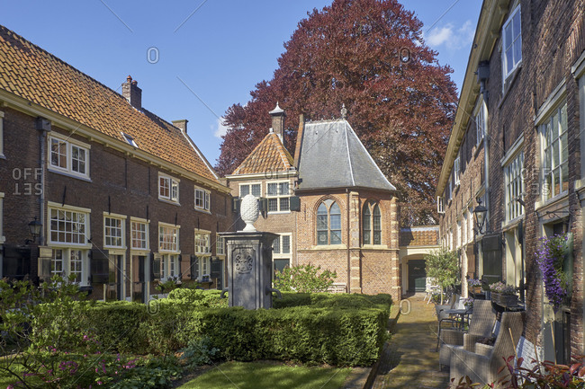 May 2, 2018: Hofje Sint Anna Aalmoeshuis in Leiden, South Holland, the Netherlands