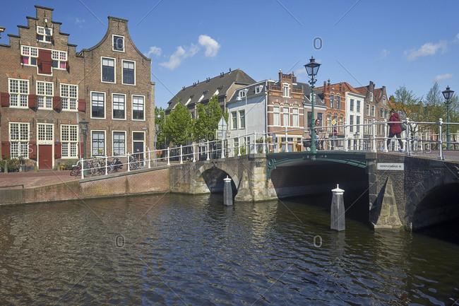 May 2, 2018: Kerkpleinbrug at the Herengracht in Leiden, South Holland, Netherlands