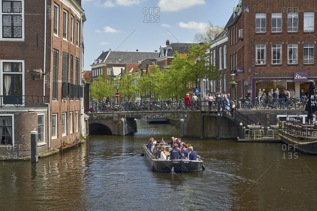 May 2, 2018: The Sint Jansbrug to Oude Rijn in Leiden, South Holland, Netherlands