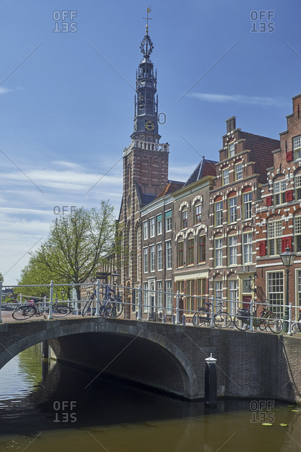 May 2, 2018: Herengrachtkerk with Kerkpleinbrug in Leiden, South Holland, Netherlands