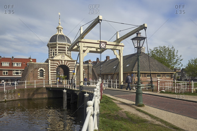 May 2, 2018: Morspoort with Morspoort Brug, Leiden, South Holland, Netherlands