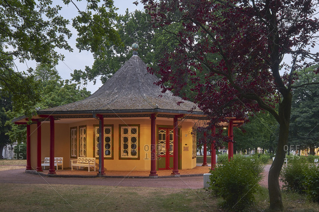 Red pavilion at the Kamp in Bad Doberan, Mecklenburg-Vorpommern, Germany