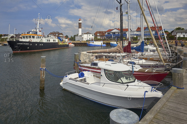 June 17, 2018: Harbor in Timmendorf with lighthouse, island Poel, Mecklenburg-Vorpommern, Germany
