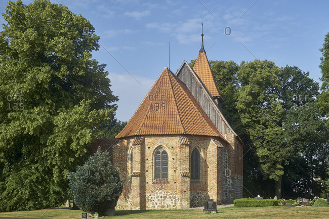 June 18, 2018: Village church Hanstorf, district of Rostock, Mecklenburg-Vorpommern, Germany
